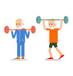 older men perform exercises to barbell lifting vector image