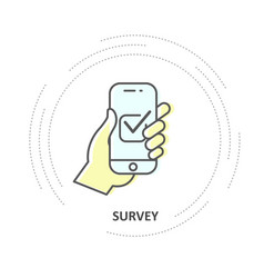 online survey - checkbox on smartphone screen vector image