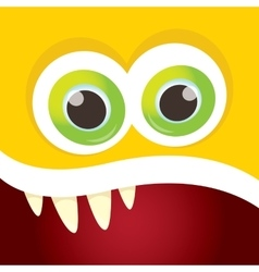 Orange funny monster face vector