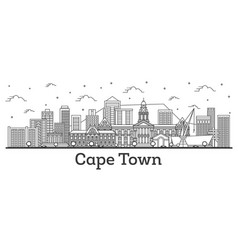 Outline cape town south africa city skyline vector