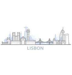outline lisbon cityscape - old town view vector image