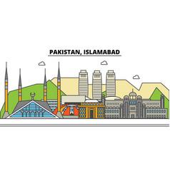 pakistan islamabad city skyline architecture vector image