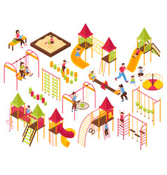Playground kids parents set vector