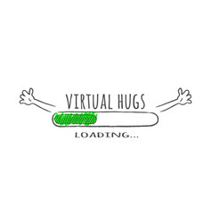 progress bar with text - virtual hugs loading vector image
