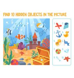 puzzle hidden items underwater life vector image