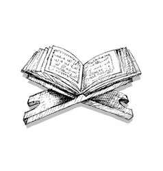 quran on a wooden book stand vector image