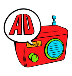 Radio advertising icon cartoon vector