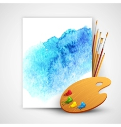 Realistic brush and palette on blue watercolor vector