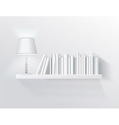 Realistic shelf on the wall with lamp vector