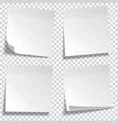 Realistic sticky note white paper message vector