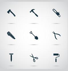 repair icons set with scissors roller brush vector image