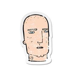 Retro distressed sticker of a cartoon bald tough vector