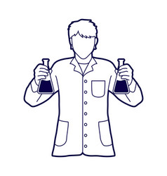 scientist with flask chemical outline vector image