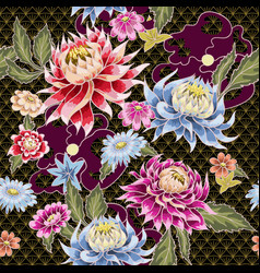 seamless pattern from painted aster flowers vector image
