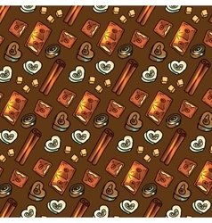 Seamless pattern with chocolate vector image