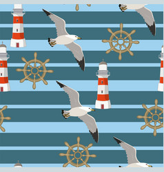 seamless pattern with seagulls flying on the vector image
