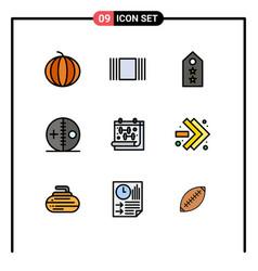 Set 9 filledline flat colors on grid vector