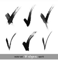 Set hand drawn v signs vector