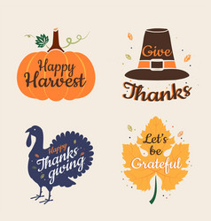Set happy thanksgiving calligraphic vector