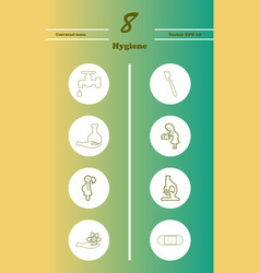 set line icons of hygiene theme vector image