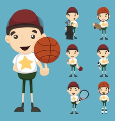 Set of boy and sport vector