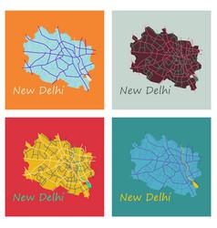 Set of new delhi map flat style design vector