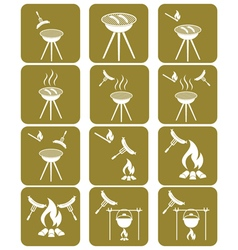 Set of sausage camping cooking icons vector