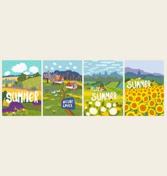 set summer nuture landscape sunflowers yellow vector image