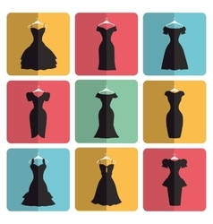 silhouette little black party dresses icons vector image