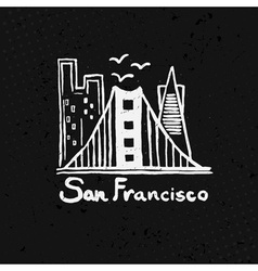 Skyline of San Francisco in watercolor vector image