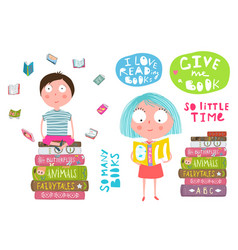 Smart kids boy and girl reading books vector
