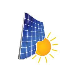 Solar panel with sun color vector