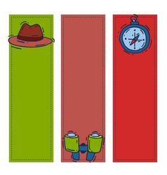 spy icons cartoon detective banner mafia vector image