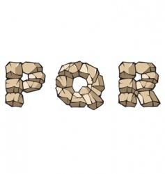 Stone Alphabet pqr vector