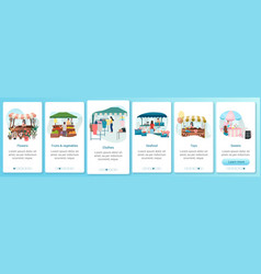 Summer fair onboarding mobile app screen template vector