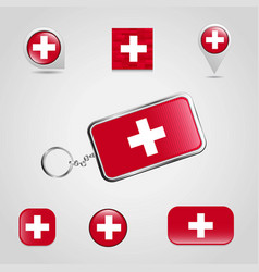 switzerland country flag on keychain and map pin vector image