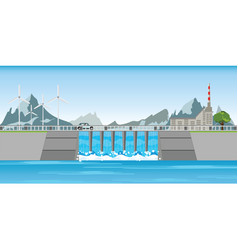 The dam and windmills between mountains vector