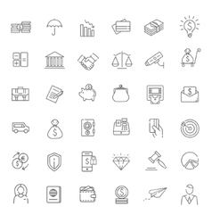 Thin line web icon set - money finance payments vector