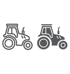 tractor line and glyph icon farming vector image