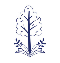 tree foliage branches leaves nature isolated icon vector image