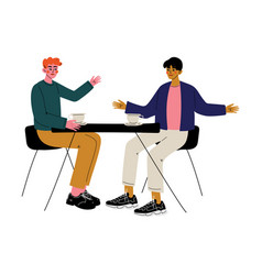 two men drinking coffee and talking in cafe male vector image