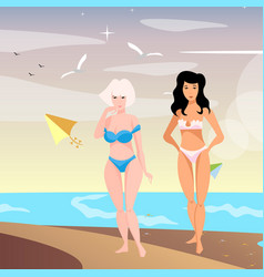 Two young woman on beach vector