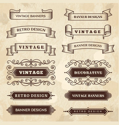 vintage banners wedding flourish ornament grunge vector image