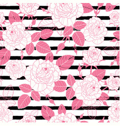 Vintage pink roses and leaves on black vector