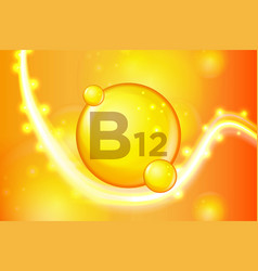 vitamin b12 gold shining pill capsule icon vector image