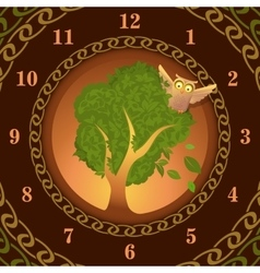 Watch of owl on oak vector
