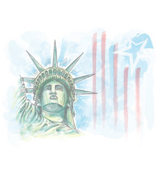 Watercolor sketch statue liberty face with vector