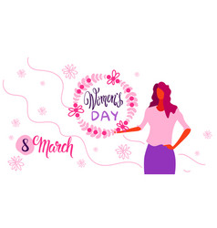 woman holding floral wreath happy women day 8 vector image