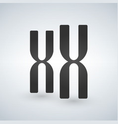Xx chromosomes icon style is flat symbol grey vector