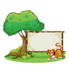 A framed empty banner with a tiger vector image vector image
